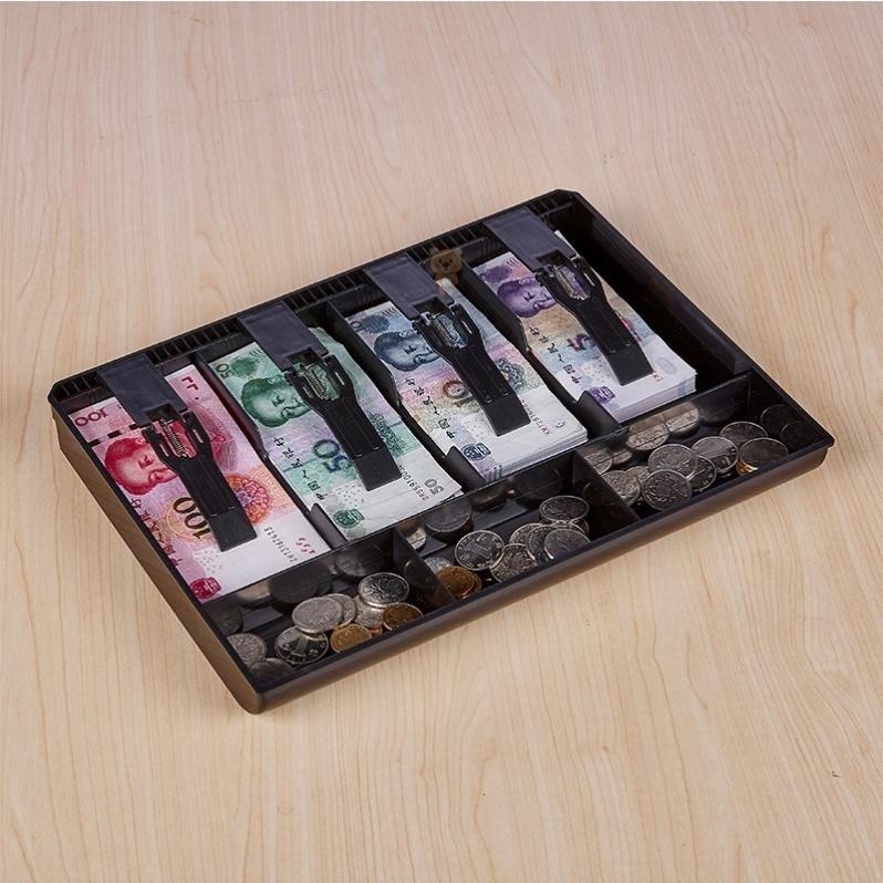 夹黑色加厚钱箱收银抽屉内钱盒钞票收银大小号格抽屉金属超市式