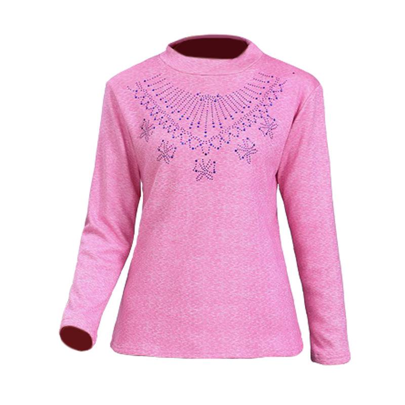 中老年女装冬季加绒加厚长袖打底衫t恤