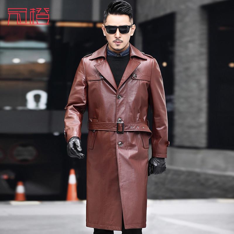 冠橙海宁真皮皮衣风衣男士超长款皮衣头层皮西装领商务大衣外套潮