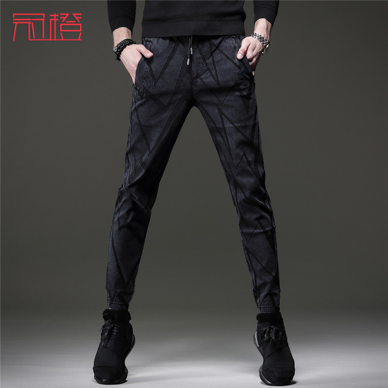 Crown orange autumn new casual pants mens all-around slim legged pants with band stripes