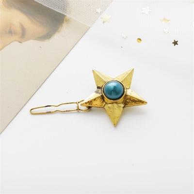 欧美时尚个性气质 复古珍珠宝石五角星发夹 边夹发饰品女
