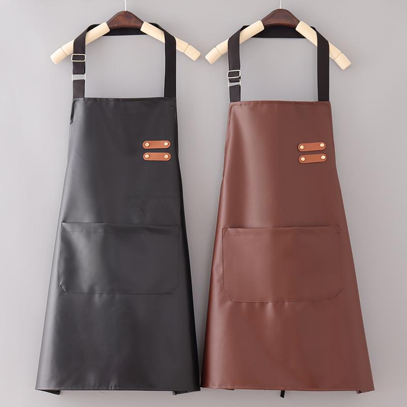 时尚新款皮革PU围裙女软皮防水防油男士高档围腰厨房做饭厨师工作