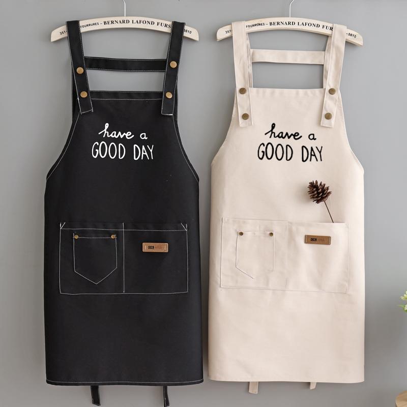 围裙定制logo时尚女成人厨房奶茶餐厅纯棉无袖薄款男士工作服印字