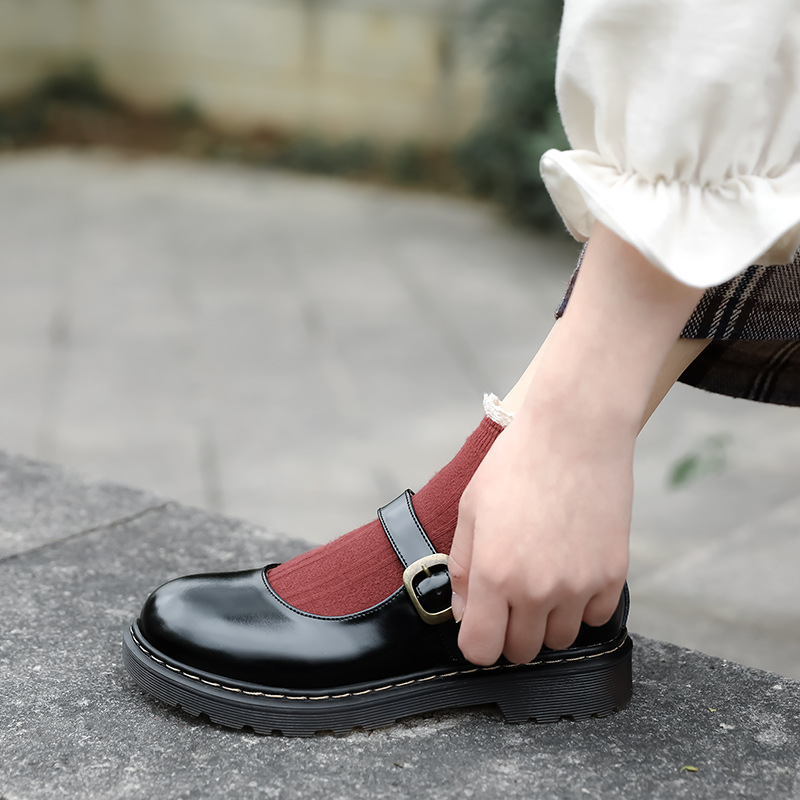 Small leather shoes Lolita retro round head Mary shoes womens shoes thick soled leather womens shoes Japanese womens shoes