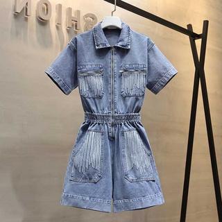 工装牛仔连体裤短裤套装洋气时尚连体衣女装潮2020年新款夏季薄款