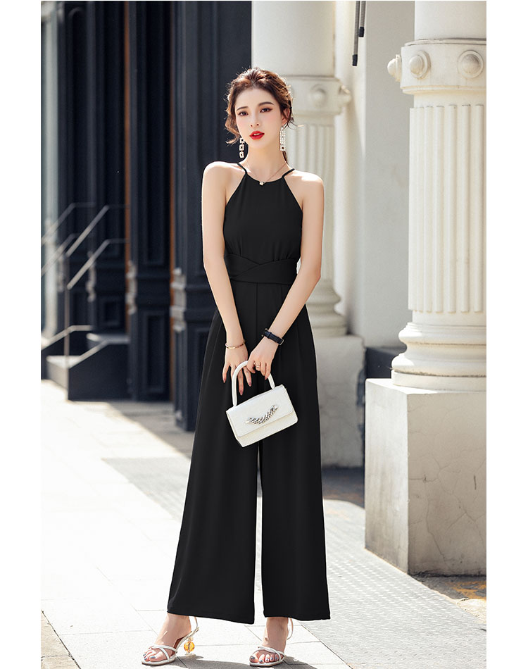 New summer one-piece clothes womens temperament vertical sense f sleeveless vest hanging neck one-piece wide leg nine point one-piece pants cover