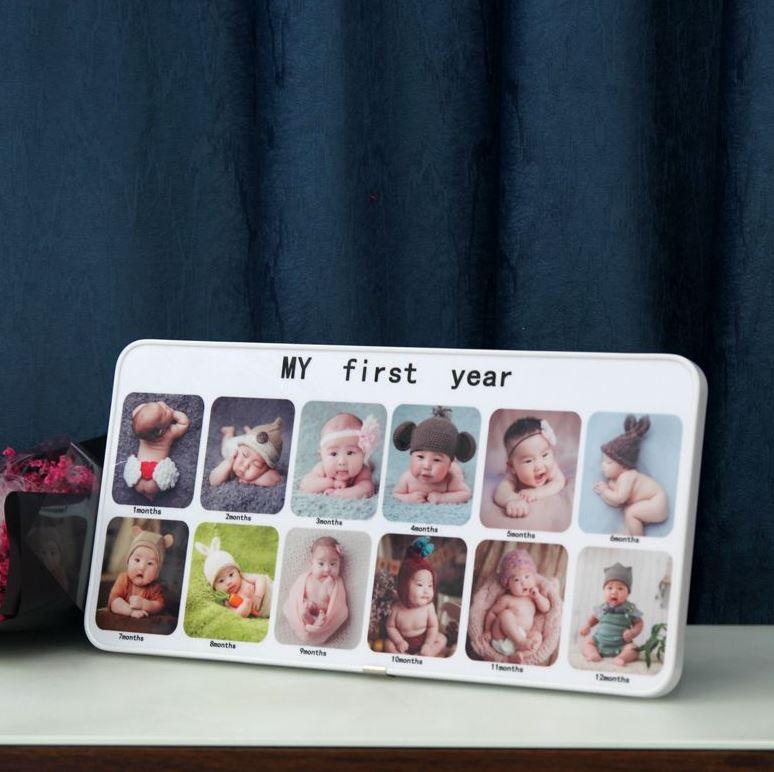 歳の写真フレームの赤ちゃんの新生児の九宮格の記録百日間の写真の漫画の12ヶ月の額縁