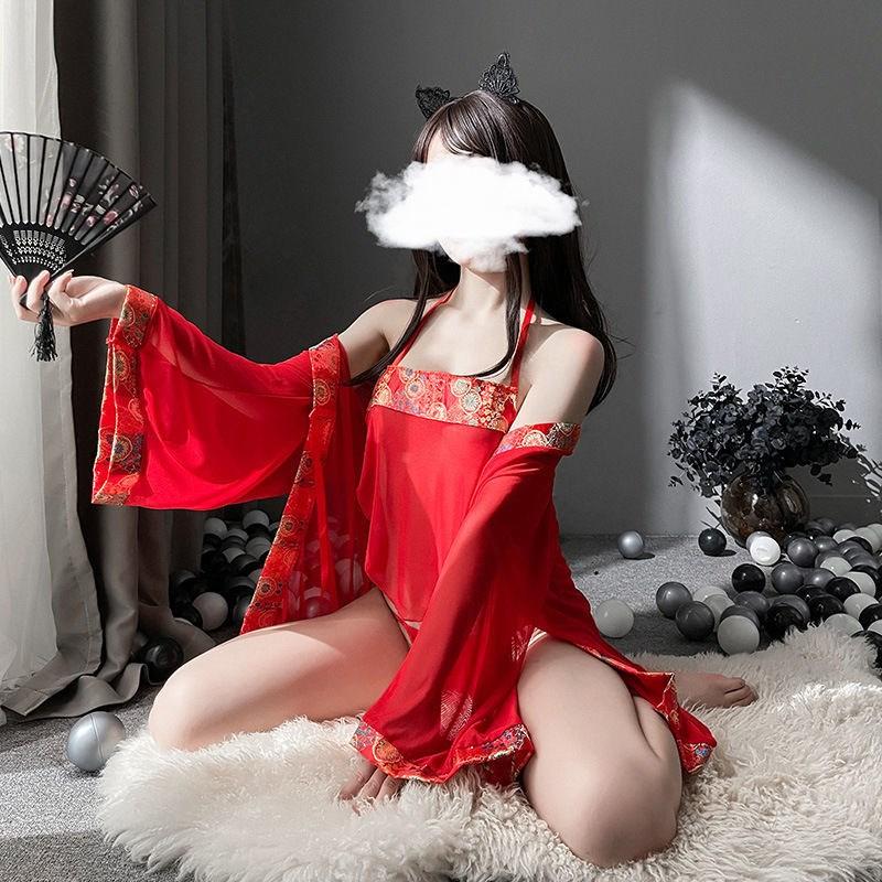 中國代購|中國批發-ibuy99|性感三件套|情趣内衣古代宫廷中国风肚兜三点式睡袍极度诱惑性感睡衣三件套装
