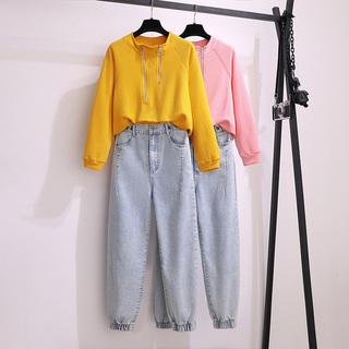 大码女装秋装2020年新款胖mm减龄显瘦遮肉套装洋气时髦卫衣两件套