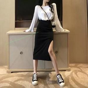 黑色不规则半身裙女包臀中长裙子