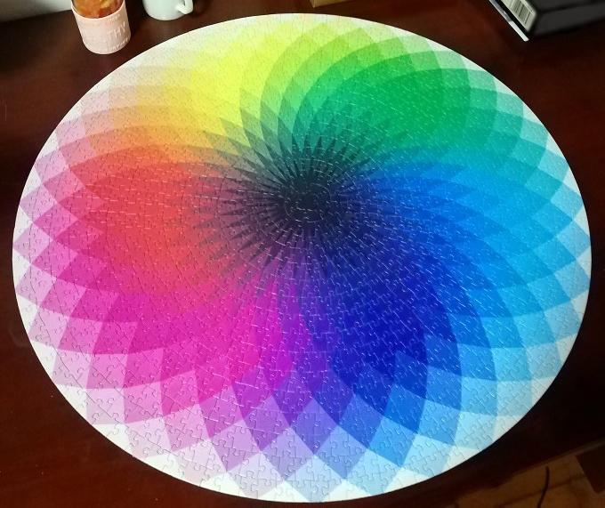 情侣1000片彩色彩虹地狱拼图纪念款积木男女孩系列礼物高难度超难