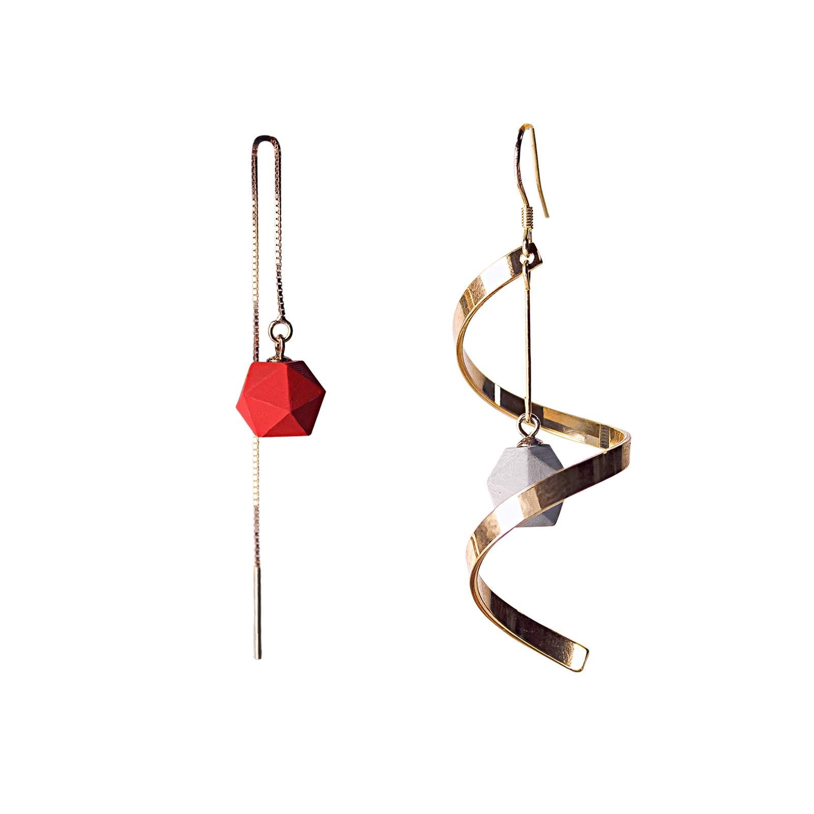 设计师款耳环不对称金属耳饰大红色球吊坠创意个性朋克耳坠饰品