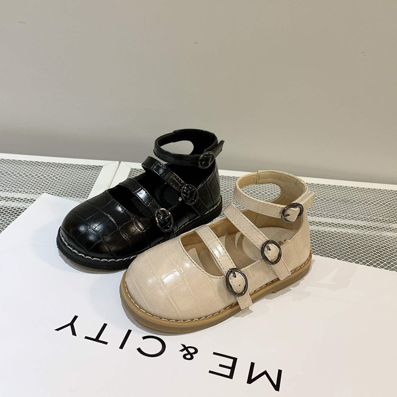 2021年春季新款童鞋韩版女童高帮罗马公主鞋宝宝排扣软底单鞋包邮
