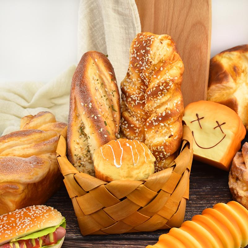 仿真面包食物模型儿童玩具慢回弹假食品摆件橱柜摆设水果拍摄。