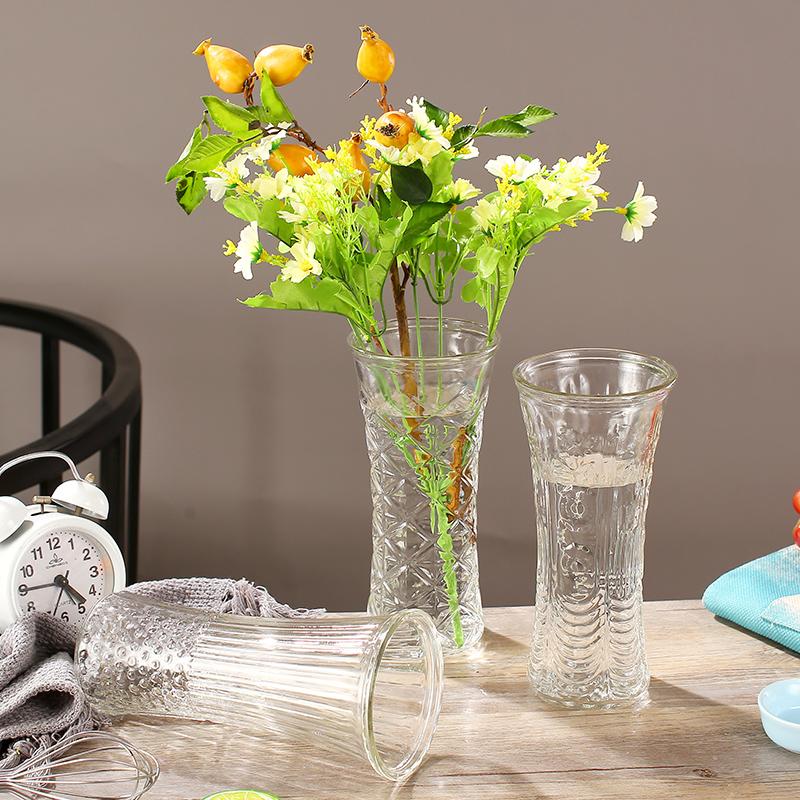 简约大号透明玻璃花瓶水培富贵竹转运竹鲜花百合插花干花客厅。