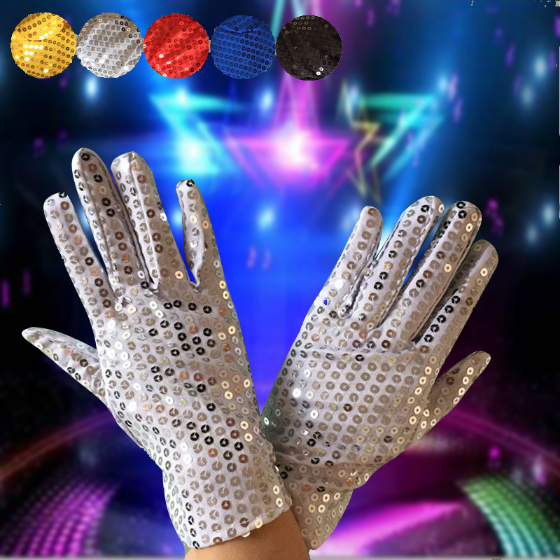 Men and women adult show shiny gloves MJ sequins DS performance party dance wedding bride simple Glov