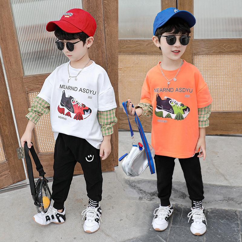 童装男童长袖T恤春秋装2020新款中小童假两件棒球T儿童长袖潮帅气