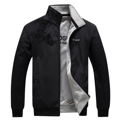 。 Thin double-sided spring and autumn mens coat vertical wear sports spring leisure windbreaker s-neck double-sided jacket Anti Sports