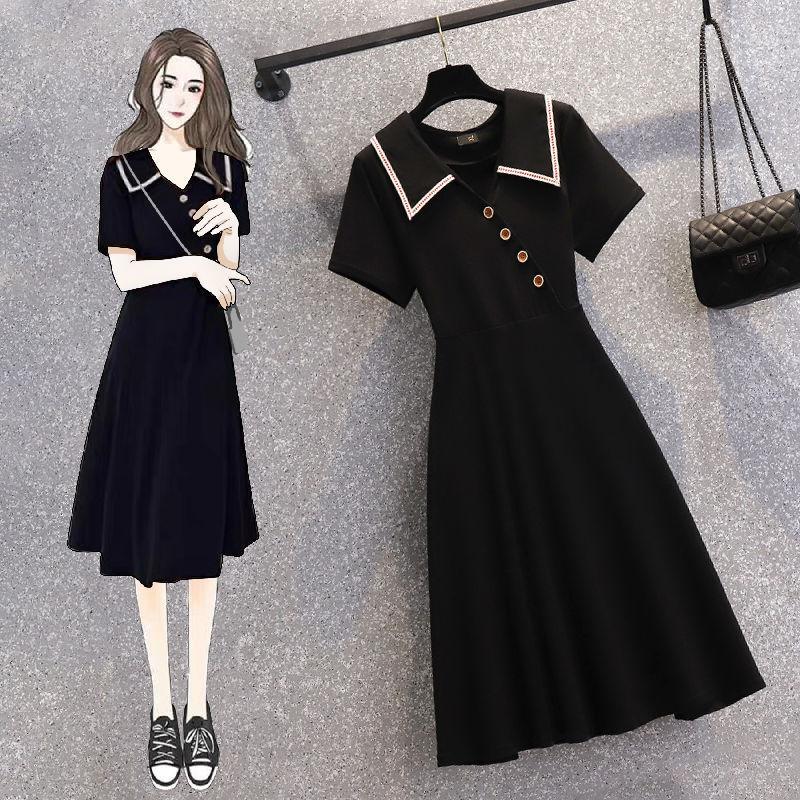 大码女装2021夏季新款法式赫本风小黑裙胖妹妹显瘦遮肚减龄连衣裙