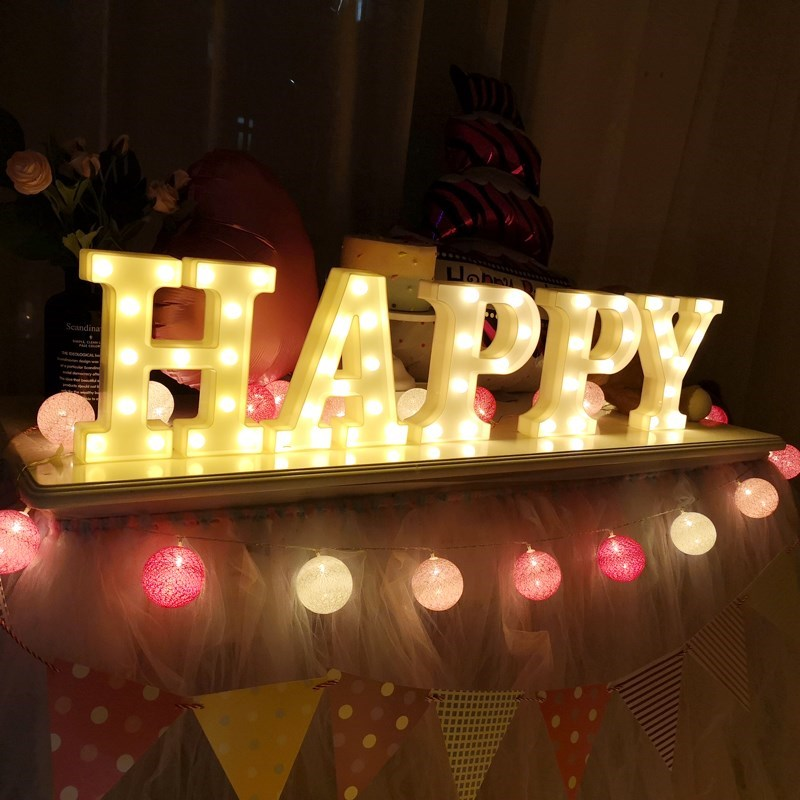 Luminous lights birthday decoration scene layout romantic English alphanumeric lights LED proposal creative props supplies