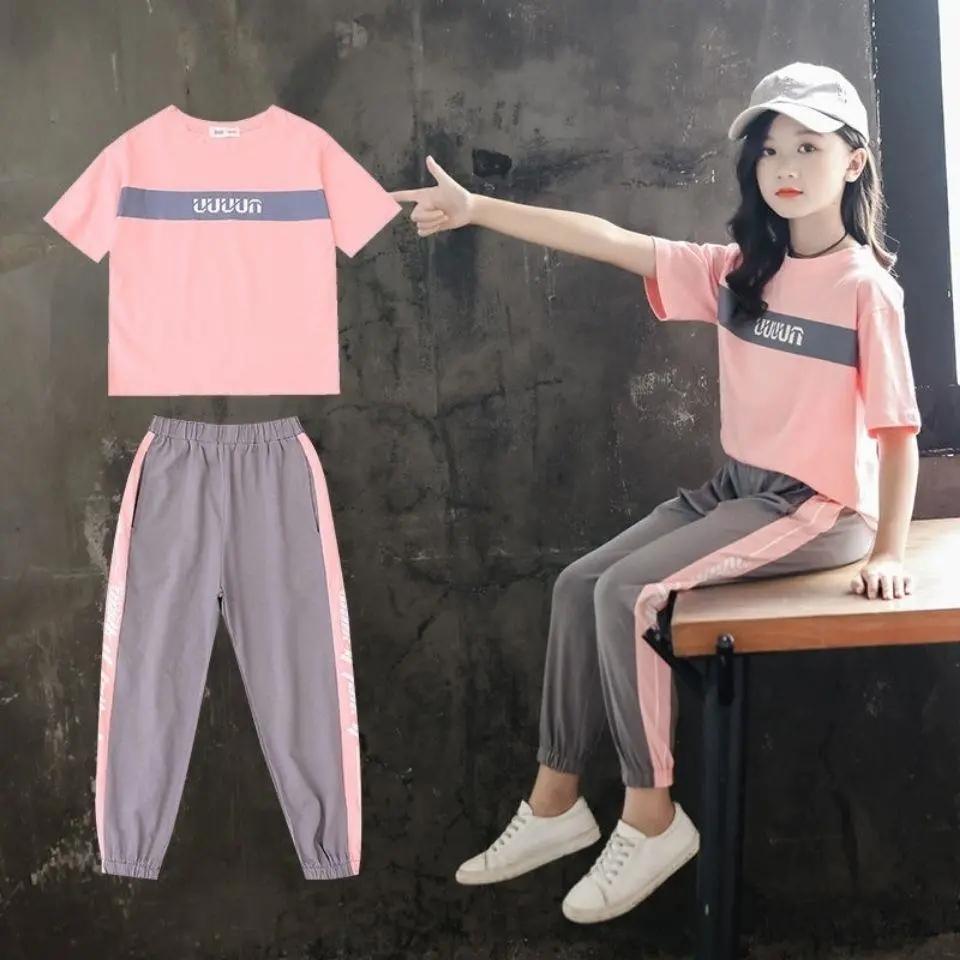 女童夏季装2020新款套装儿童时髦装13岁女孩洋气中大童女韩版套装