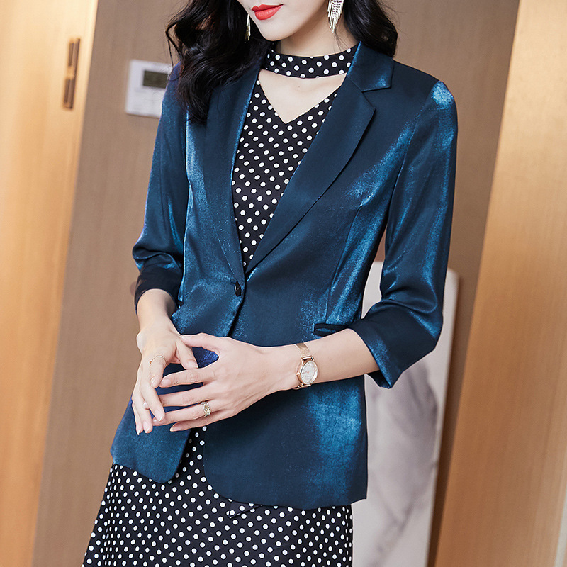 Autumn 2020 new womens dress elegant bright silk luster Blazer slim fit casual coat