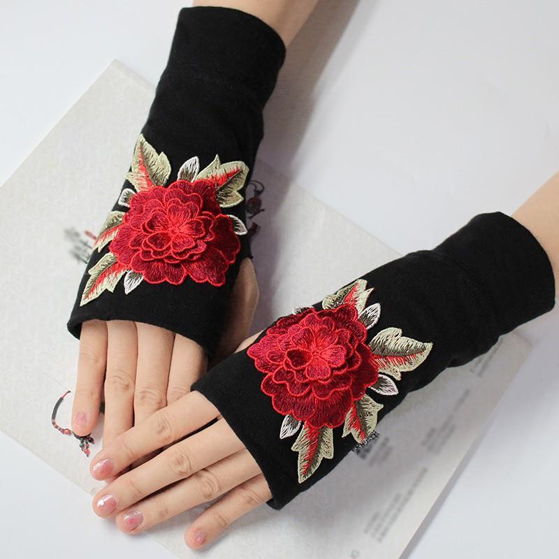 手工刺绣手套女土手套冬季复古毛线编织民族风半指漏保暖配饰复古