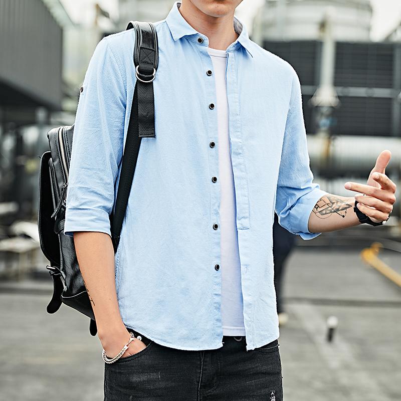 爆款纯棉衬衫男士夏季七分袖韩版衬衣帅气修身寸衫 101A-CS70-P35