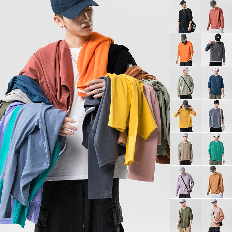 Long sleeve t-shirt mens autumn trend Korean loose size couples solid bottom Shirt Youth Student fashion brand