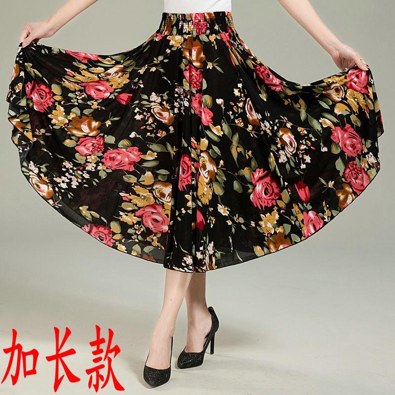 夏季印花裙跳舞裙冰丝太阳裙子妈妈装中老年女装半t身裙老年人长