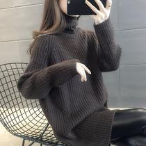 中长款毛衣女2020新款洋气加厚宽松外穿高领针织打底衫女秋冬内搭
