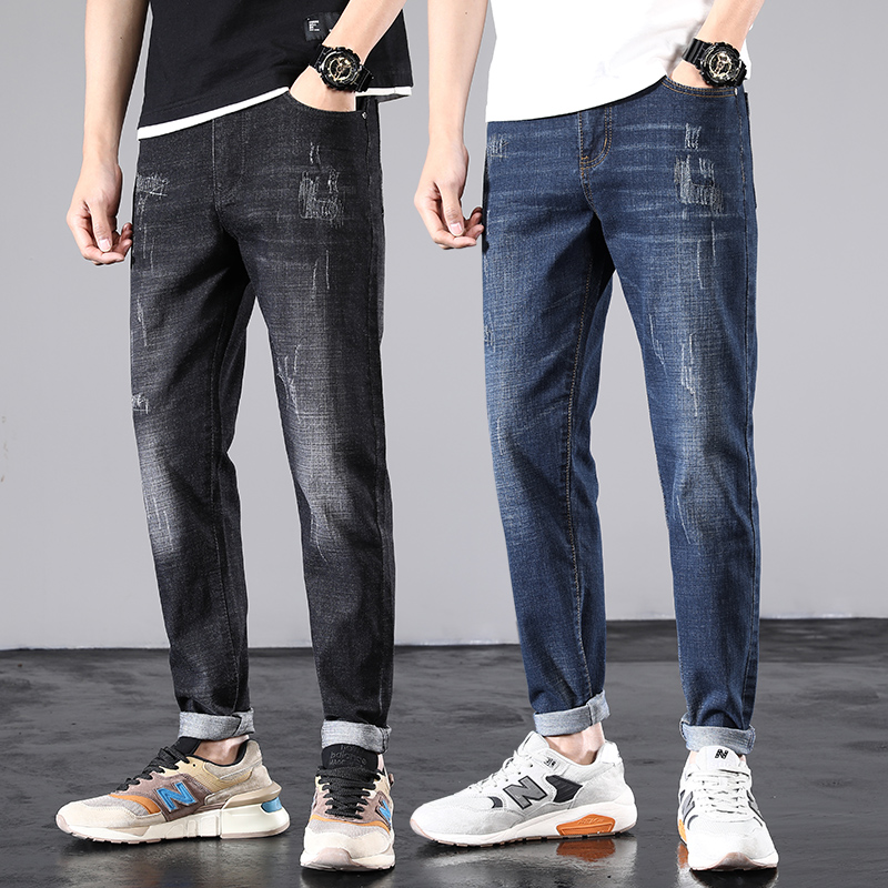 Jeans mens slim little feet spring and autumn 2020 new fashion brand handsome worn straight casual pants