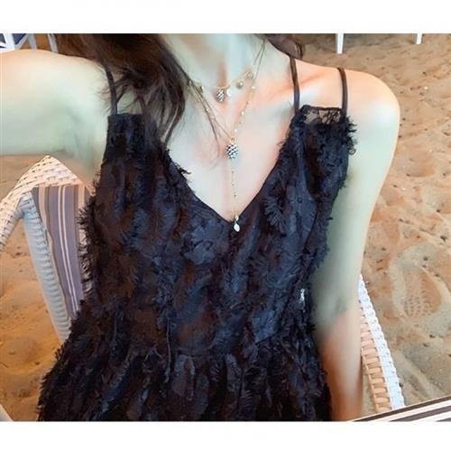 Dress female a long spring and summer 2020 New Goddess temperament open back lace fairy skirt very Fairy Holiday skirt
