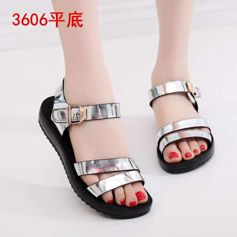2020 summer flat sandals womens middle-aged open toe slope heel Velcro womens shoes fashion versatile middle-aged and old mothers shoes