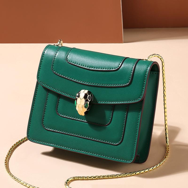新款 真皮包包2020欧美风范蛇头锁扣链条单肩斜挎包广州女包