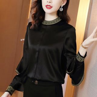 重磅真丝衬衫女立领长袖2020春夏新款高端衬衣黑色缎面桑蚕丝上衣
