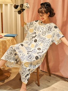 夏季纯棉2021年新款连体短袖睡裙