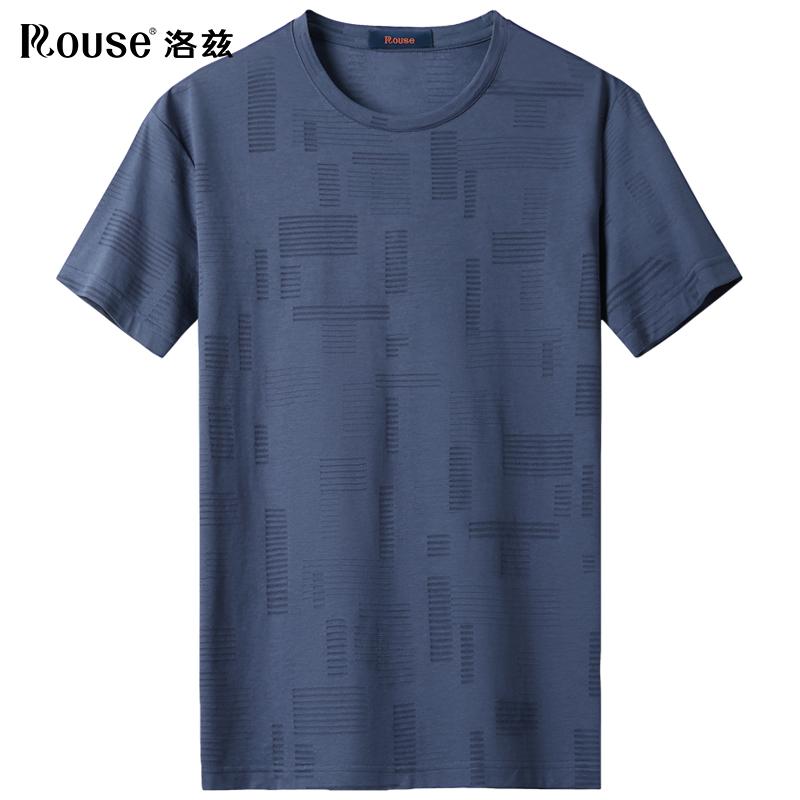 【桑蚕丝】洛兹男装短袖t恤2021夏季新款暗条纹中青年莫代尔体恤