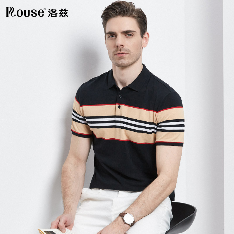 Rhodes mens cotton contrast embroidered short sleeve t-shirt mens 2021 summer new striped breathable polo shirt