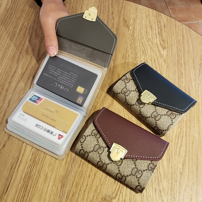 Ins Korean version compact card bag wallet clip womens mens certificate ultra thin Mini cute simple personality.