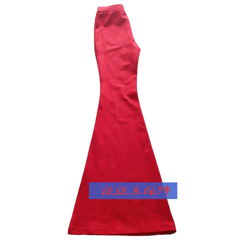 Large new elastic cotton benmingnian bell bottoms casual womens pants slim fit long and ankle high waist pants bag hip pants red