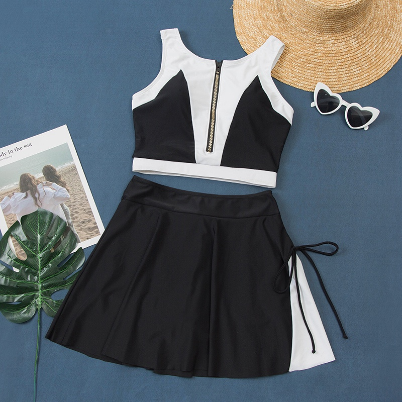 2020 conservative student sportswear new two piece womens body swimsuit vest leisure set new tour