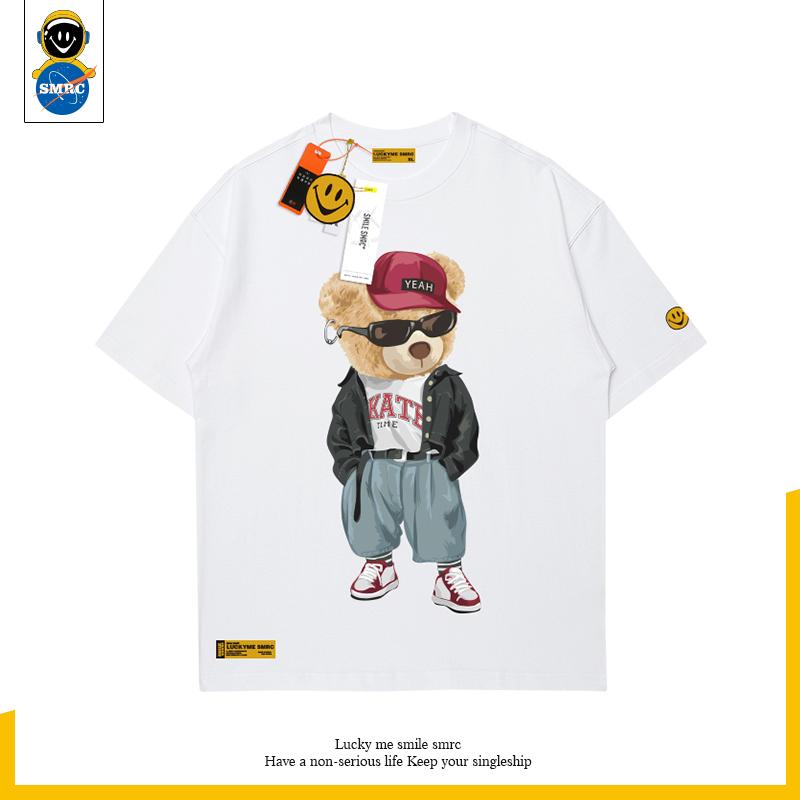 2021 summer bear round neck cotton T-shirt trend half sleeve lovers short sleeve t-shirt mens trendy hip hop Street
