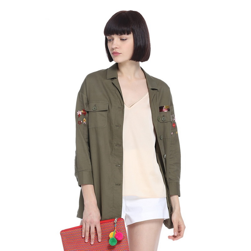 ochirly欧时力新女装中长西装领刺绣亮片棉质长袖衬衫1JY2010570