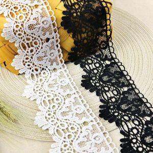 8cm宽黑白水溶性蕾丝花边镂空棉牛奶丝辅料连衣裙窗帘下摆装饰。