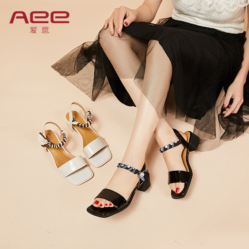 AEE / Aiyi 2021 summer new fashion square head comfortable middle heel cowhide button belt square heel sandals