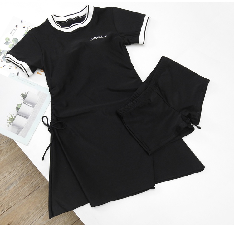 Hot spring conservative chest split sports suit South Korean skirt style retro two piece small flat angle tide swimsuit girl