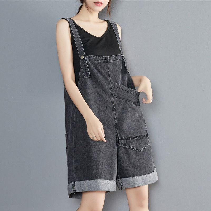 Two sides wear flanging Wide Leg Denim strap shorts womens summer loose casual big pocket overalls