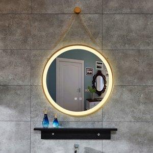 新品吊绳圆形铁艺LED灯镜洗手盆壁挂卫浴镜智能镜卫生间浴室镜子