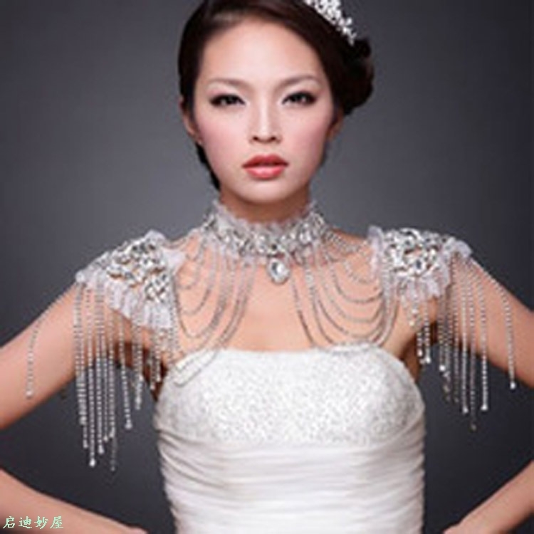 Bridal shoulder chain original factory direct sales luxury diamond wedding dress accessories support mixed batch